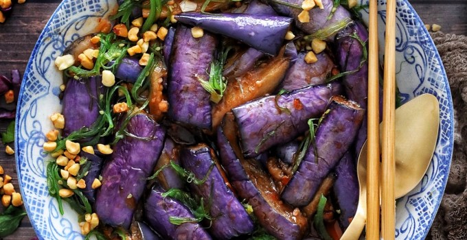 Stir Fried Eggplant with Sesame Seaweed Salad