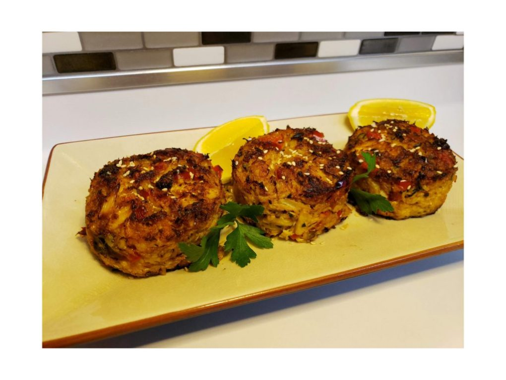 Plated Mile-High Crab Cakes