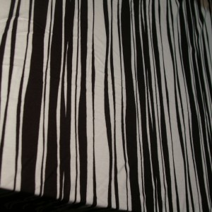 Cotton Lycra Black White Uneven Stripe