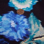 Rayon Spandex black Turquoise Blue Floral