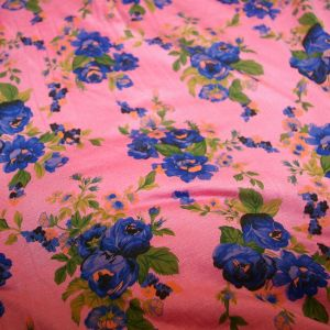 Rayon Spandex Pink Blue Floral