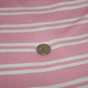 Rayon Spandex Pink Ivory Stripe