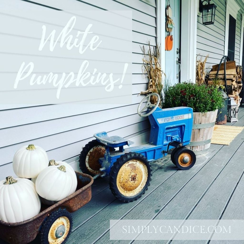 front porch with a blue vintage tractor and white pumpkins