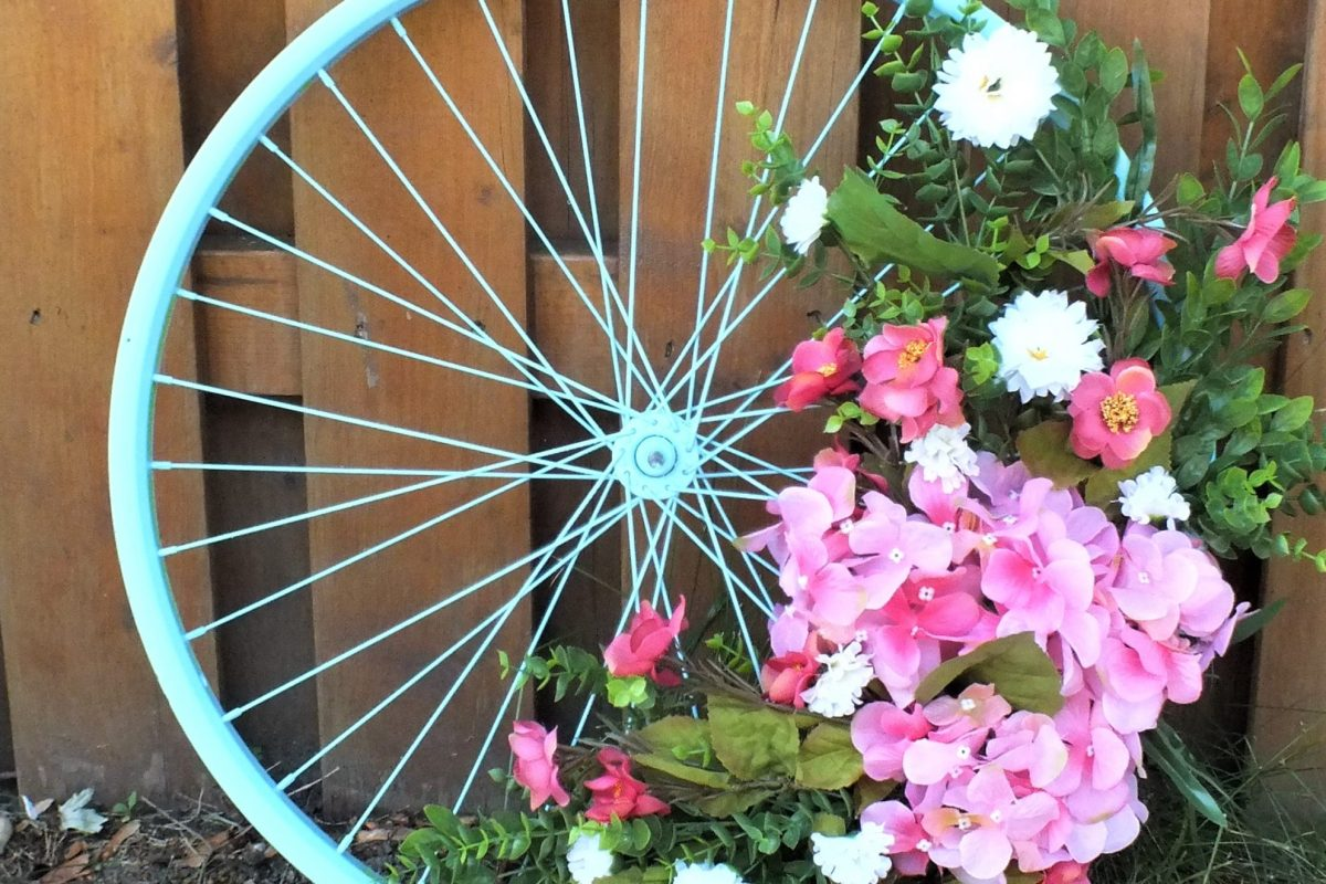 upcycled bicycle wheel wreath