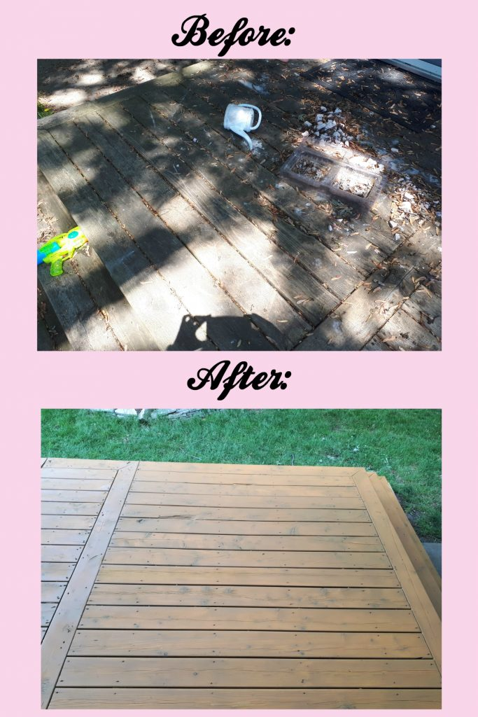 Stained Deck Before and After