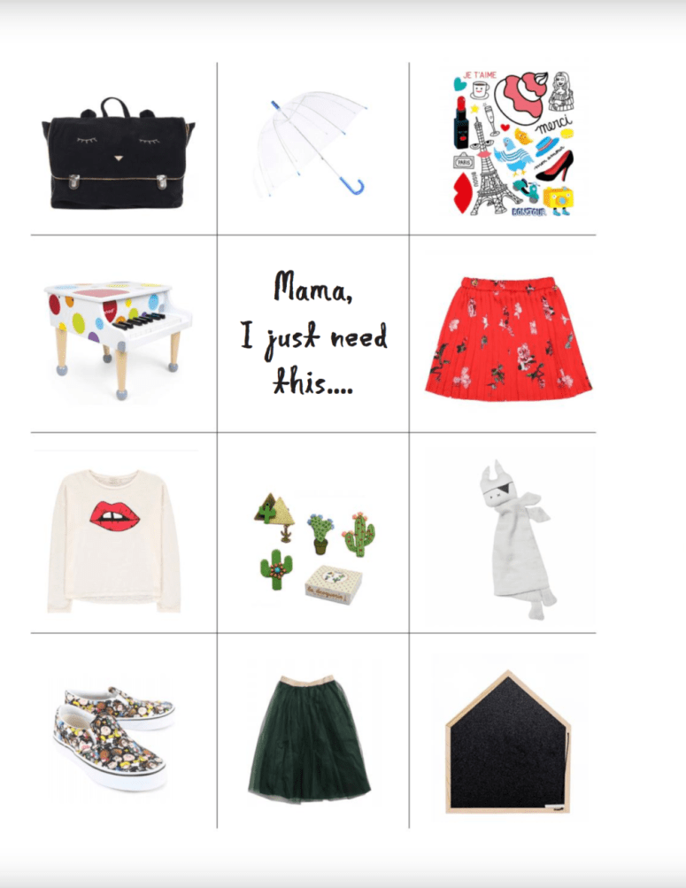 Shopping list for COOL kids