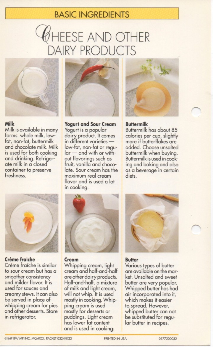 19-14 Cheese and Other Dairy Products1