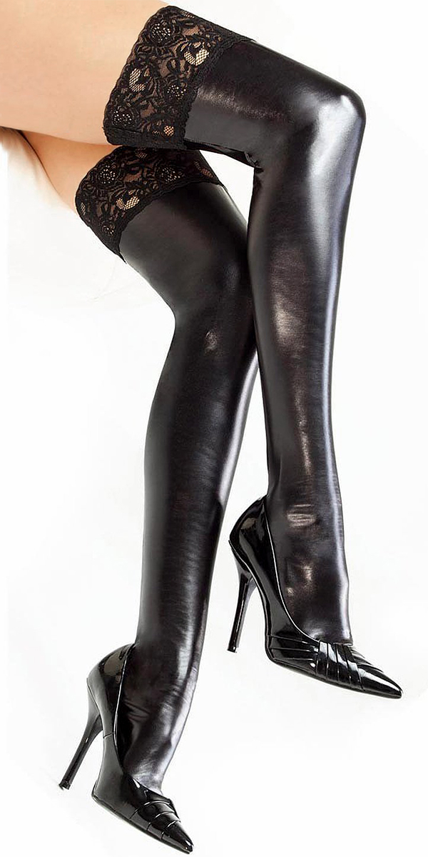lace up thigh high latex stockings sexy womens