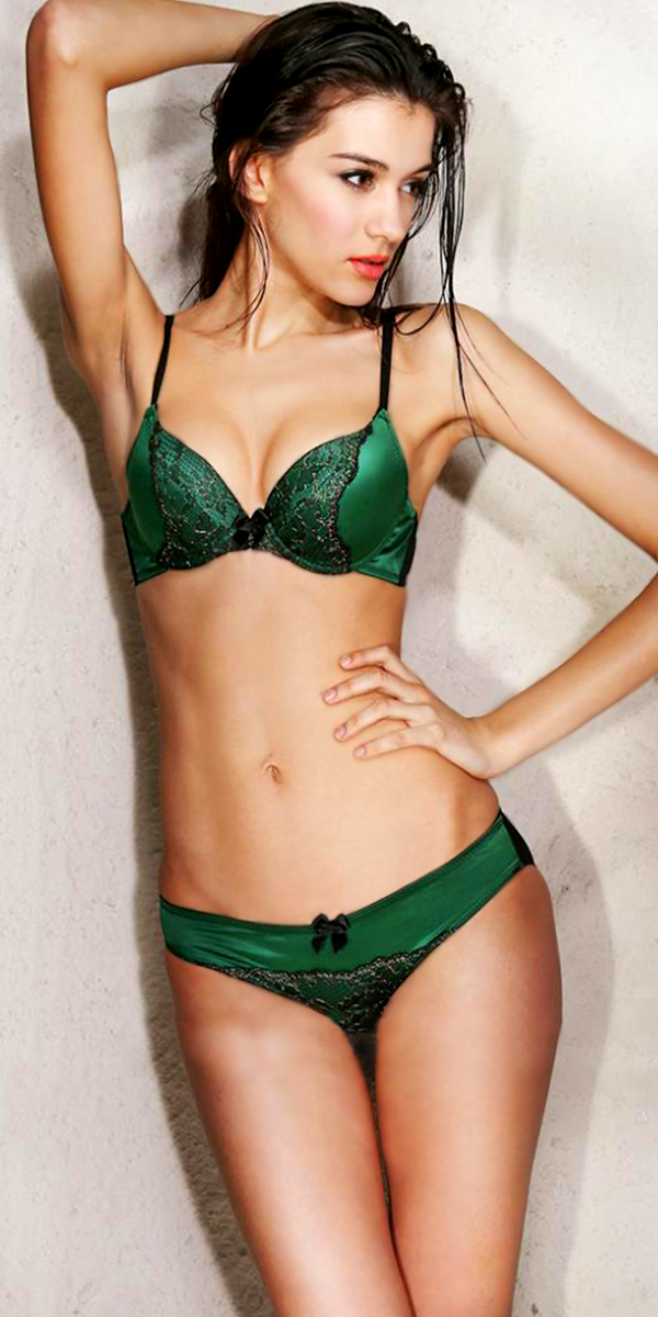 emerald embroidery lace bra and brief set sexy womens