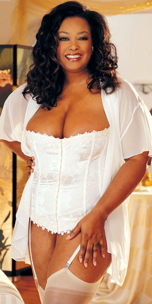 white floral tapestry plus size corset with g-string sexy womens