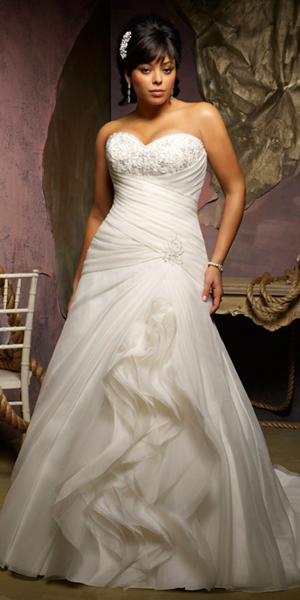a-line beaded embroidery applique plus size wedding dress sexy bridal gowns womens
