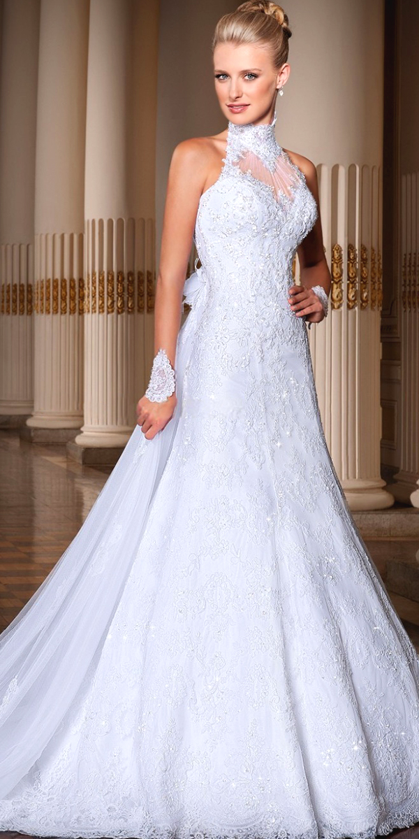 a-line lace high neck sweep train wedding dress sexy womens bridal gowns