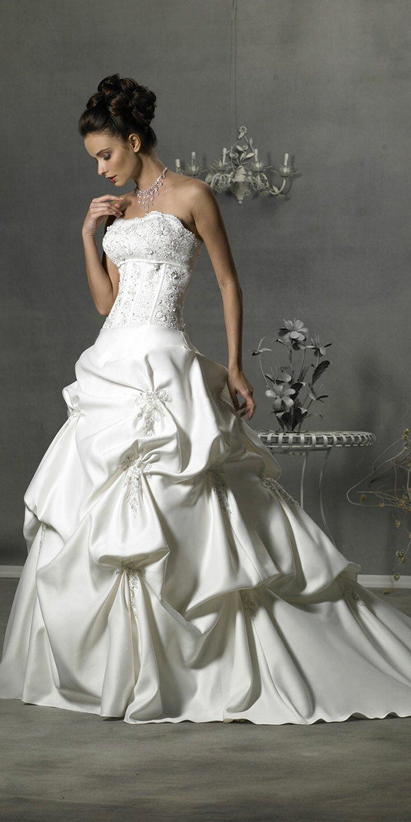 a-line taffeta applique princess ruffled wedding dress sexy womens bridal gowns