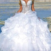 applique embroidered lace organza corset wedding dress sexy womens bridal gowns
