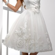 applique flower tea-length wedding dress sexy womens bridal gowns
