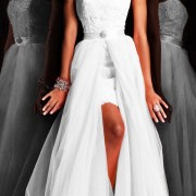 applique organza tulle wedding dress with detachable skirt sexy womens bridal gowns