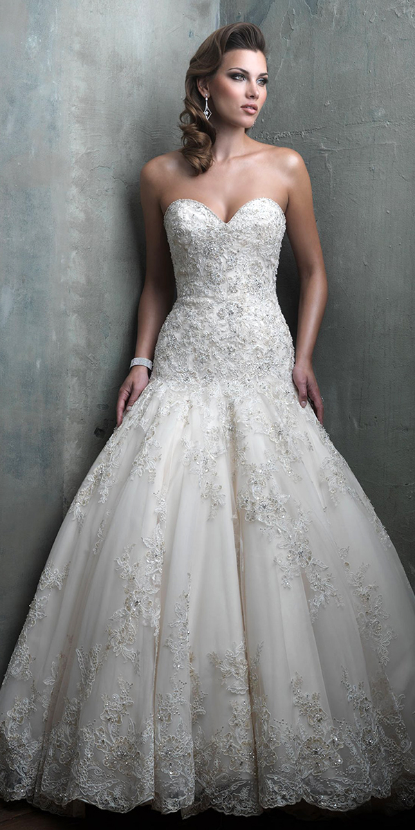 Beaded Lace Applique Drop Waist Wedding Dress Sexy Womens Bridal Gowns