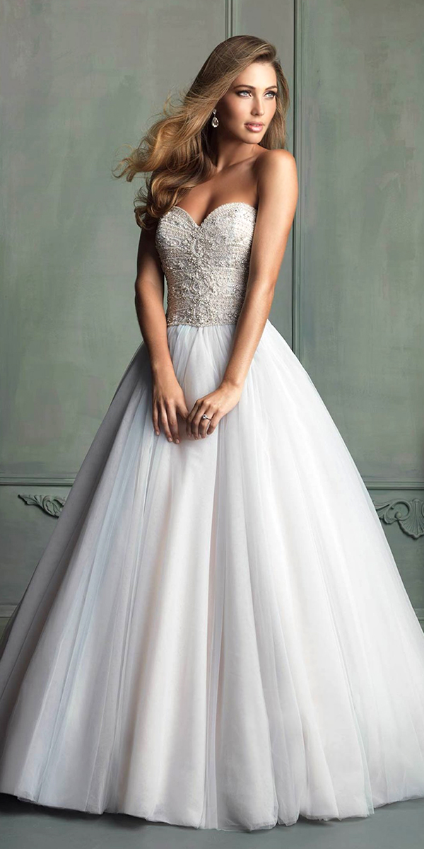 embroidered strapless bodice a-line wedding dress sexy womens bridal gowns