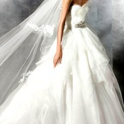 multi layered organza lace a-line wedding dress sexy womens bridal gowns