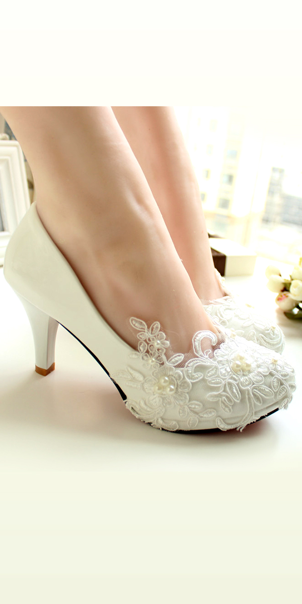 applique floral lace high heel bridal shoes sexy womens bridal accessories
