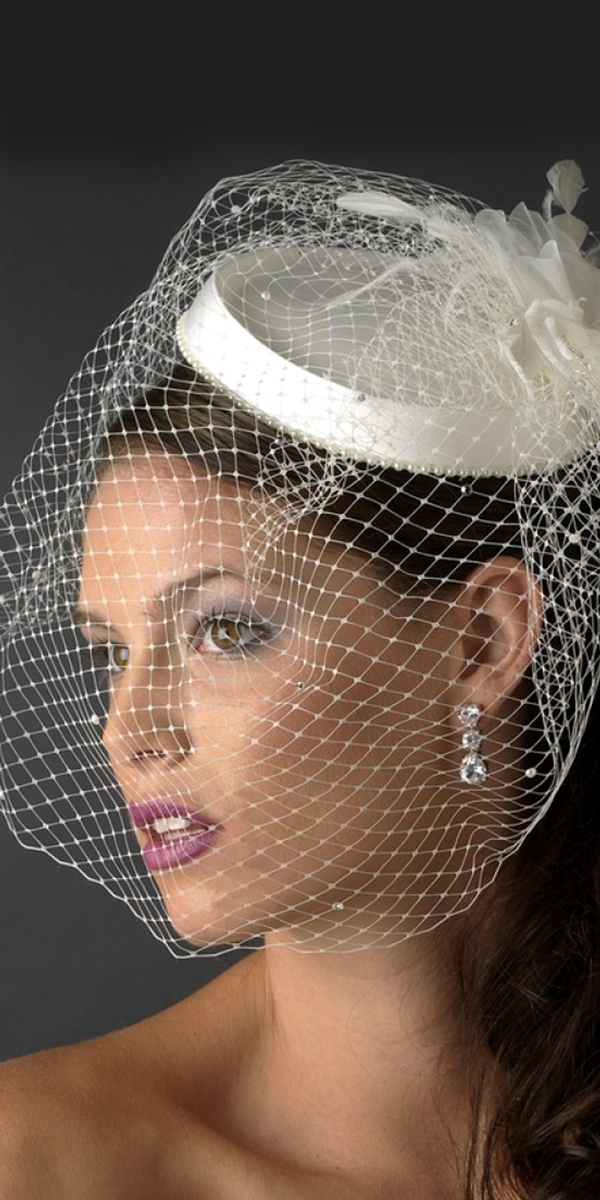 birdcage flower bridal face veil with feather sexy womens wedding accessories