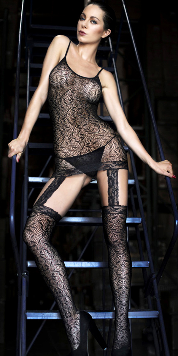 black fishnet bodystocking with open crotch sexy womens lingerie