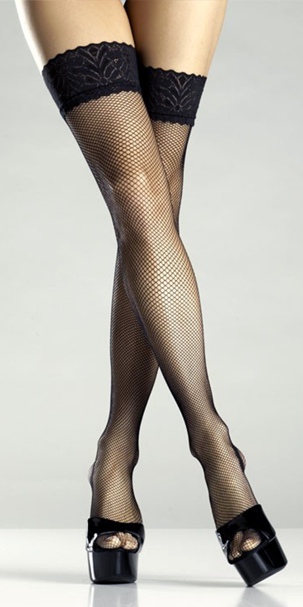 black fishnet lace-top thigh-high stockings sexy womens lingerie