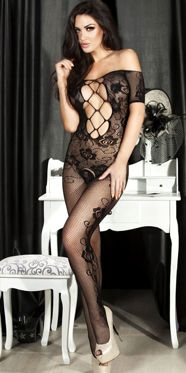 black lace hollow-out floral fishnet bodystocking sexy womens lingerie