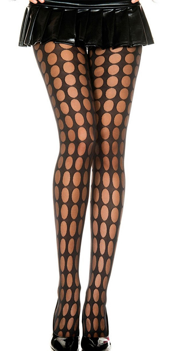 black sheer pantyhose with pothole pattern print sexy womens lingerie