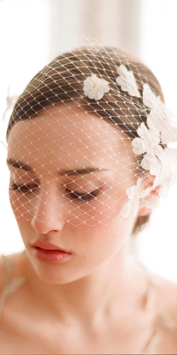 one-layer birdcage bridal face veil with flowers sexy womens accessories