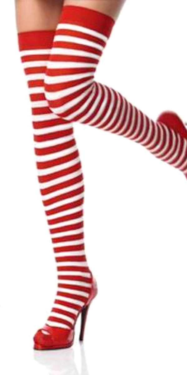 red and white stripe thigh-high stockings sexy womens lingerie