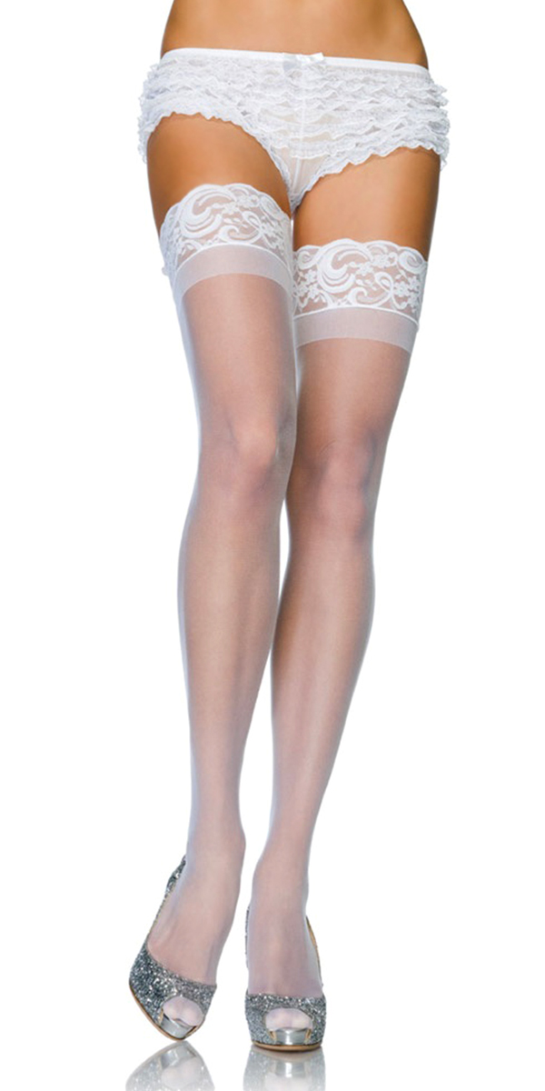 sheer thigh-high stockings with lace silicone top sexy womens lingerie