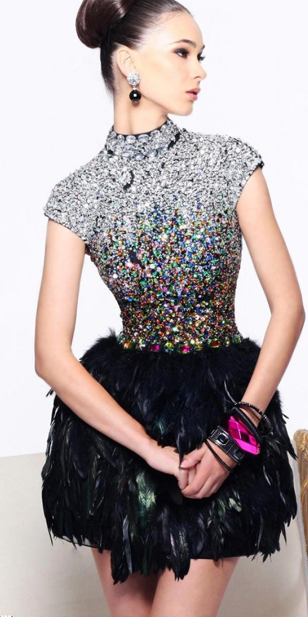 feather cocktail dress with rhinestones and crystals sexy women's clothing skirts