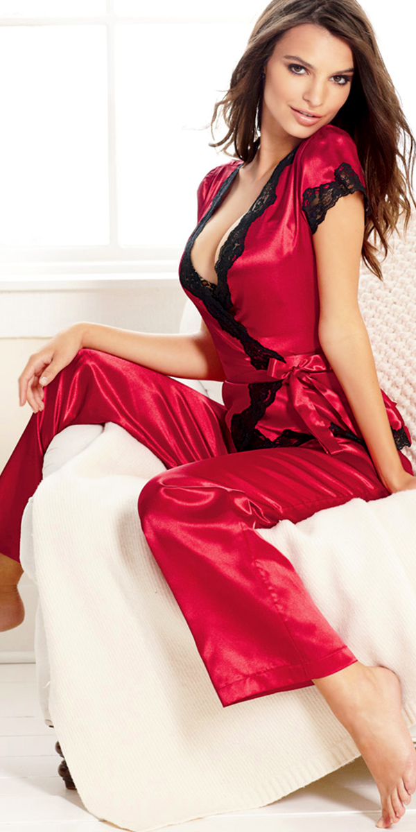three-piece satin pajama set sexy womens lingerie