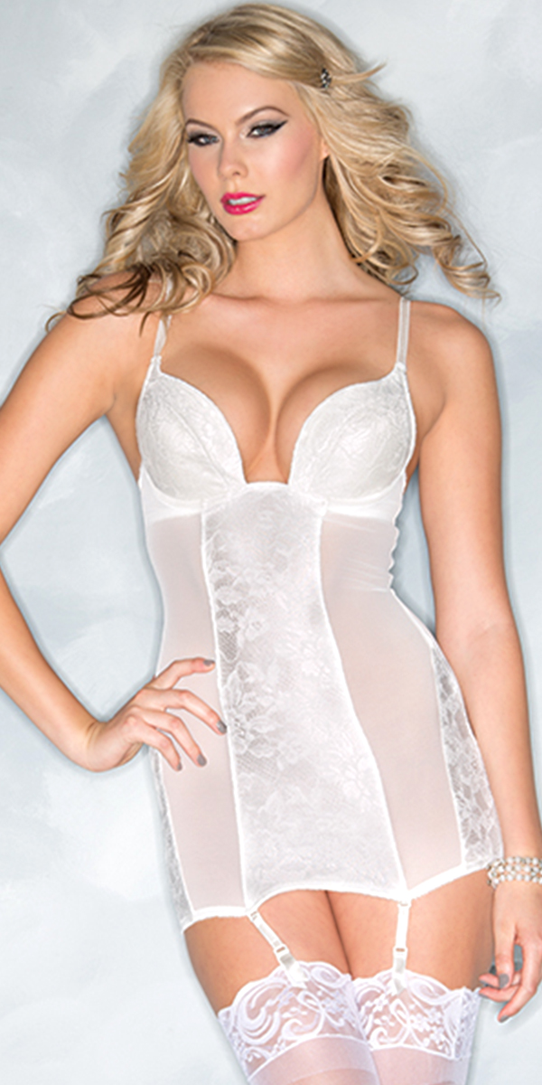 two piece lace white chemise with sheer details sexy bridal underwear