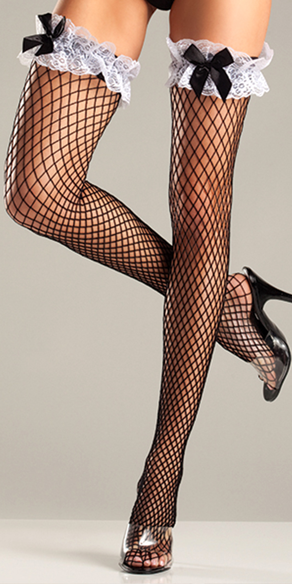 black diamond net thigh highs with ruffled lace top and bows sexy womens stockings