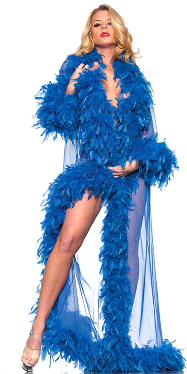 glamour robe with feather trim blue sexy womens clothing