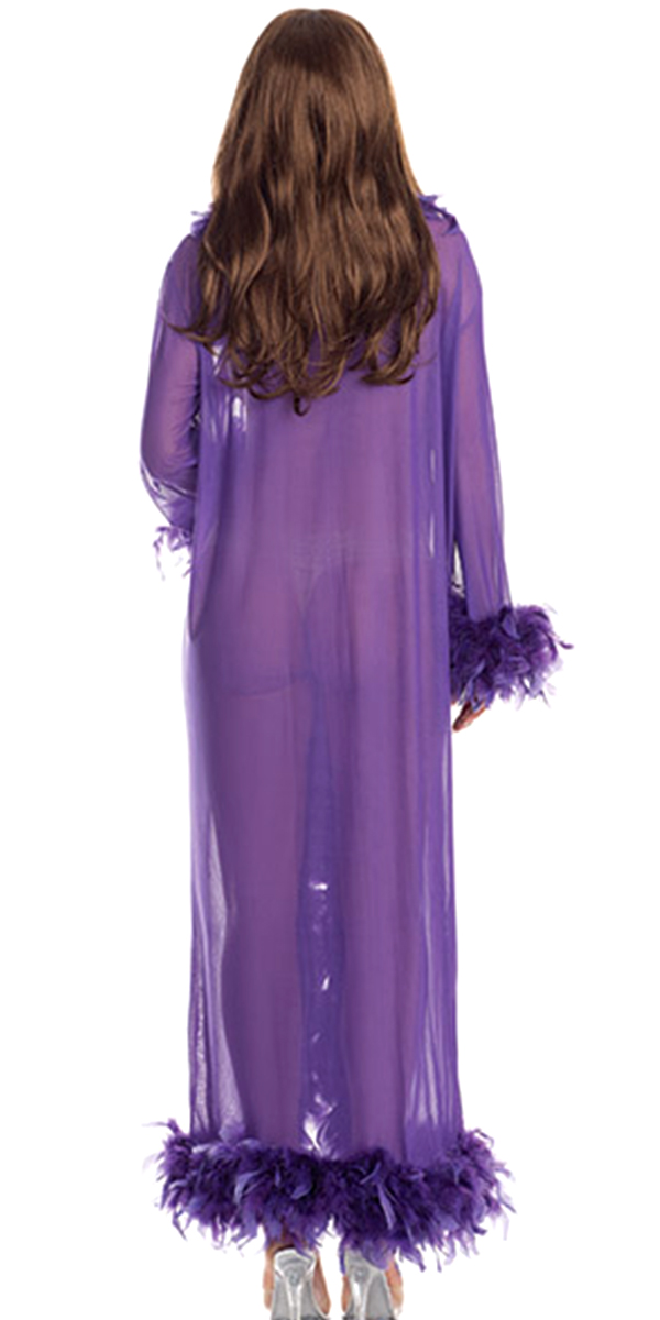 glamour robe with feather trim purple sexy womens clothing