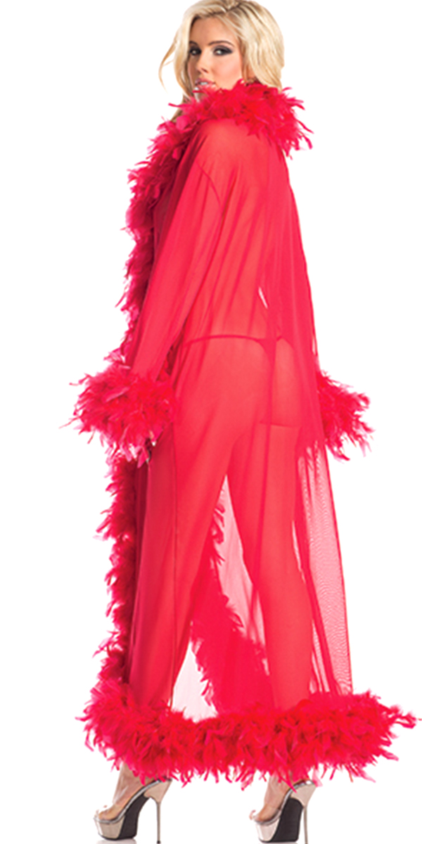 glamour robe with feather trim red sexy womens lingerie