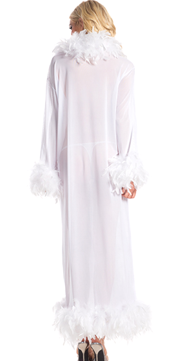 glamour robe with feather trim white sexy womens clothing