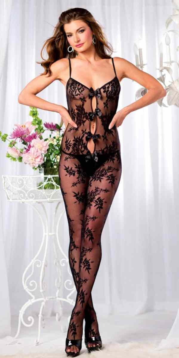 black floral lace bodystocking sexy women's bodystockings