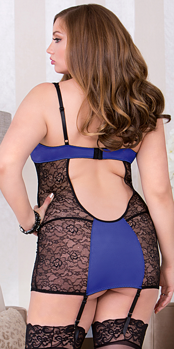 plus size blue chemise with black lace overlay sexy women's lingerie