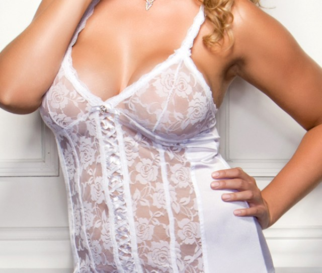 Plus Size Satin And Floral Lace Open Back Chemise With G String Sexy Womens Lingerie