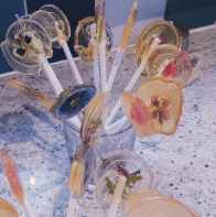 homemade lollipops with fresh flowers