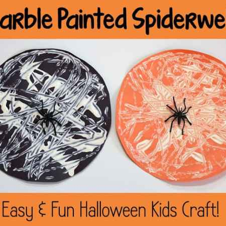 Halloween Kids Craft: Marble Painted Spiderwebs
