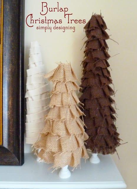 Shabby Ruffle Burlap Christmas Trees