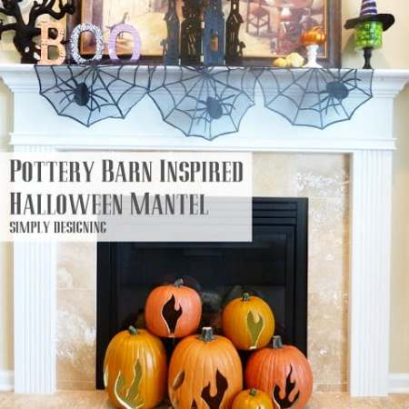 Pottery Barn Inspired Flaming Pumpkins #spookyspaces