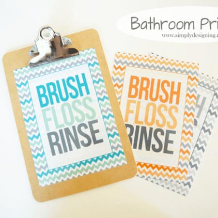 Brush, Floss, Rinse Chevron Printable