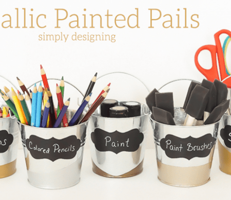 Metallic Painted Pails for Organization