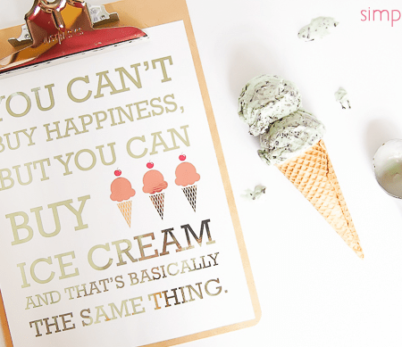 Foiled Ice Cream Printable